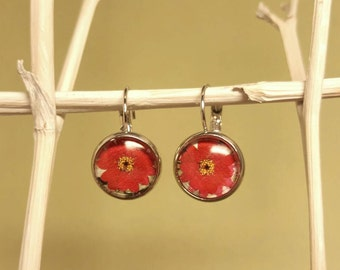 Cabochon earrings earrings with red flowers and cabochon