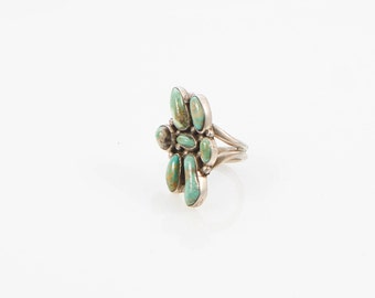 Green Turquoise Cluster RIng Size 11.5