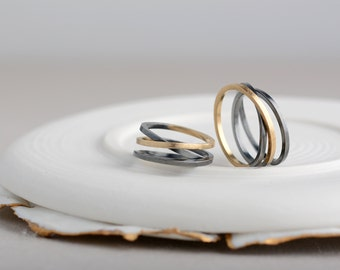 Road wedding bands, silver and gold wedding rings, original wedding ring set, wedding bands his and her, unique wedding bands