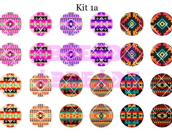 Kit of 24 - 1 Inch Bottle Cap Native American Images and Stickers