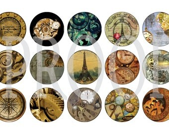 Digital Bottle Cap Image Sheet - Steampunk - 1 Inch Digital Collage - Instant Download