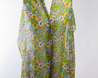100% artist designed digitally Printed Silk Chiffon Long Scarf
