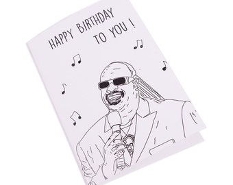 Happy Birthday Stevie Wonder Illustrated Card