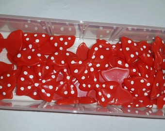 6 piece flatback resin dotted bow cabochons