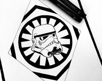 Stormtrooper A4 Blackwork Print