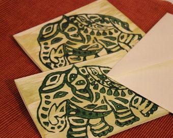 Blank Note Cards Set of 2 Hand Printed, Block Printed