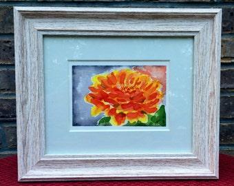 Orange and Yellow Zinnia Original Watercolor Painting, Original Watercolor, Zinnia Painting, Flower Wall Hanging, Home Decor, Summer Decor