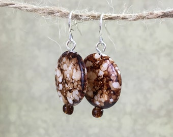 Brown Speckled Round Silver Earrings