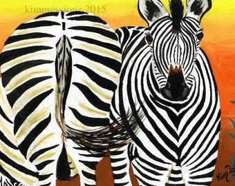 Zebras - Whimsical Art, Giclee Print, Acrylic Painting Print, Wall Art, Wall Decor
