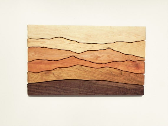 Mountain scene wood wall art /Sugar maple, Yellow birch, Red birch, Cherry, Butternut, Black walnut/