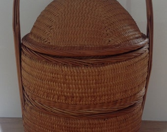 Retro Cane and Bamboo Sewing Basket