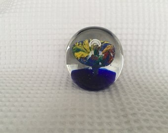 Vintage Paperweight in Blue & Yellow design