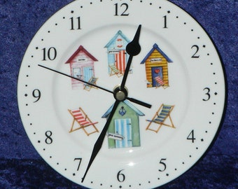 Beach hut wall clock - porcelain clock with beach hut design