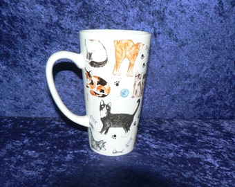 Cats latte mug - large3/4pt capacity ceramic mug decorated all round - personalised if required at no extra cost