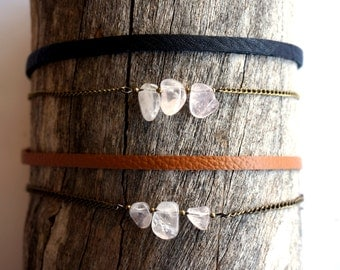 Rose Quartz Thin Leather Choker - Rose Quartz Choker - Gold Chain Choker - Double Choker with Chain - Black Leather Choker - Tan Leather