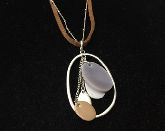 Vintage Necklace, Leather & Chain, Unusual Pendent, Silvertone
