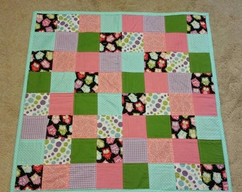 Owls-baby quilt- baby shower gift