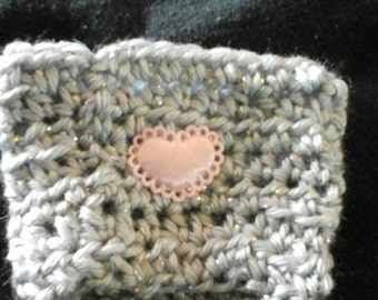 Gray and pink cup cozy