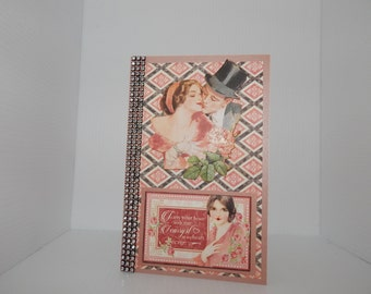 Retro themed, embellished romantic handcrafted Valentine's Day card