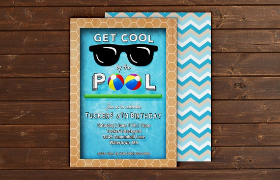 Printable Custom Pool Party Event Invitation