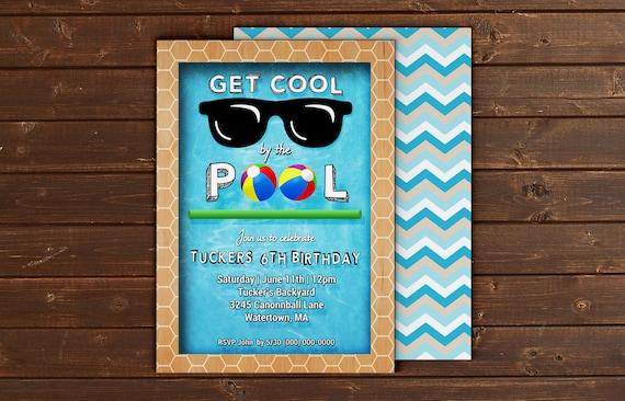 Printable Custom Pool Party Event Invitation