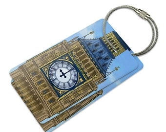 Big Ben Clock Tower London England Suitcase Bag ID Luggage Tag Set