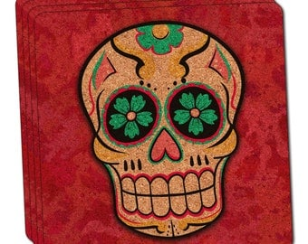 Sugar Skull Thin Cork Coaster Set of 4