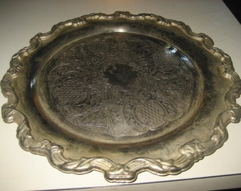Ornate silver plate Round Serving Dish