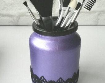 Makeup brush holder, decorative jar, purple and black jar, beauty storage, dressing table decor, upcycled jar, bedroom decor, craft storage.