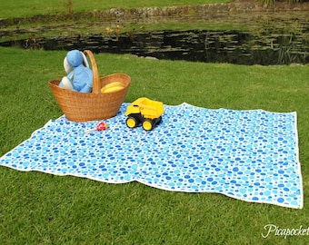 Waterproof picnic blanket, blue baby blanket, adventure blanket, blue spots with citrus yellow chevron trim, light weight