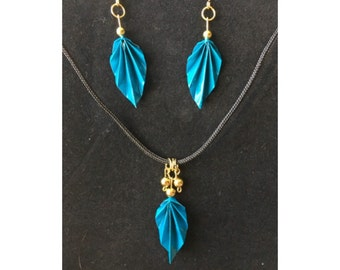 Teal Origami Leaf Earrings and Necklace Set