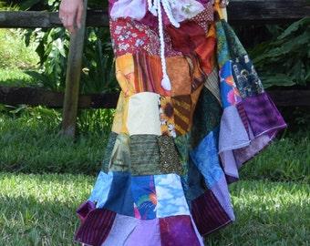 Rainbow Floor length Patchwork Skirt