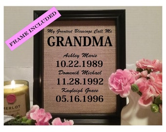 My Greatest Blessings Call Me Grandma, Gift for Grandma, Birthday Gift For Grandma, Easter gift, Grandma Gift, Mothers Day gift, FRAMED
