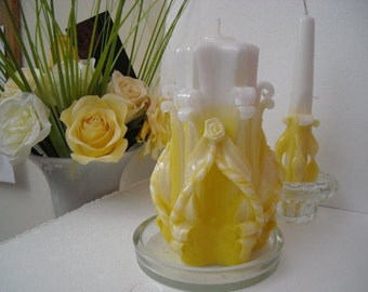 Carved Candle with matching taper