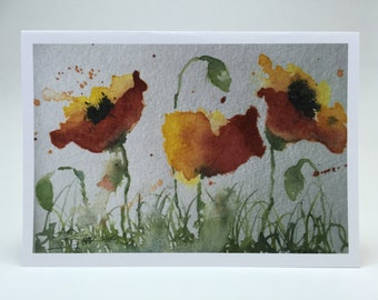 Greeting Card - Original Watercolor Print of Red and Yellow Poppies
