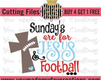 Buy 4 get 1 FREE***   Sundays are for Jesus and Football SVG EPS, dxf, & png Cutting Files Stitches Crown football stitches sports