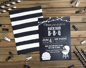 Digital Party Invitation - Customizable - BBQ Party Invite