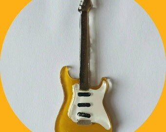Electric Guitar Brooch Mustard, Fender, Vintage Inspired, Novelty brooch, Rockabilly, Pinup, Jewelry, Acrylic, Lasercut Pin
