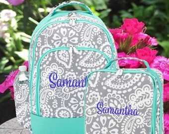 Parker Paisley Lunchbox and Backpack Set for Girls. Set of 2 Bags. Monogrammed Backpacks for Girls. Mint Paisley Backpack