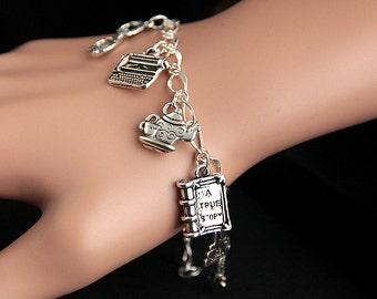 Librarian Bracelet.  Librarian Charm Bracelet. Education Bracelet. Silver Charm Bracelet. Librarian Jewelry. Handmade Jewelry.