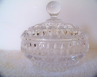 Glass Candy Dish, Crystal, Cut Glass, Clear Dish, Container