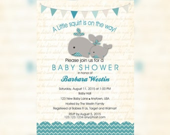Whale And Little Squirt Baby Shower Invitations   Whale Nautical Baby Shower    Whale Nautical Shower