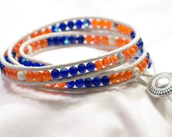Leather Wrap Bracelet - Orange and Blue 3 Layers Wrap Bracelet - GO BRONCOS Made in Colorado