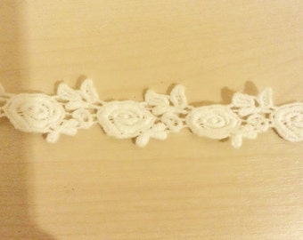 Free shipping!!!  3 yards ROSE FLOWER lace trim,cotton lace trim,white lace trim,ribbon lace,natural cotton,DIY handcrafts sewing