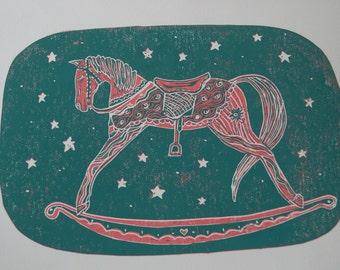 Hand printed Lino print - 'Rocking Horse'.