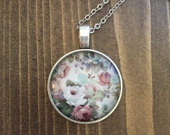 Vintage Floral Necklace Antique Silver