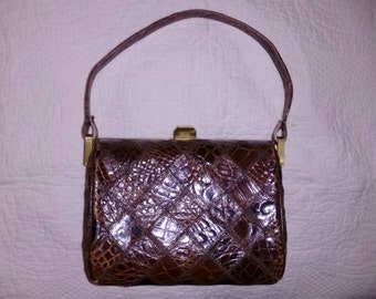 Vintage Brown Alligator look Handbag with a Diamond Pattern