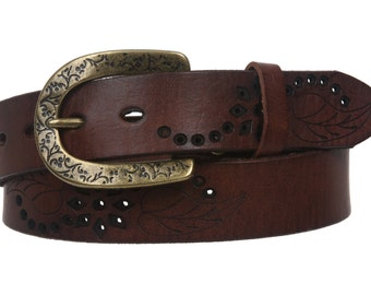 Handmade Snap On Soft Hand Vintage Cowhide Full Grain Leather Floral Perforated Casual Belt (500216)