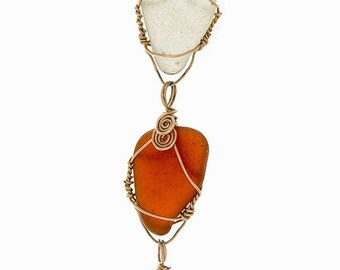 Triple-Pendant Beach Glass Necklace