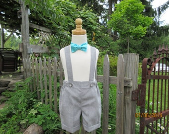 Boys grey shorts with cuffs, boys suspender shorts, ring bearer shorts, available to order 12 mo, 18 mo, 2t, 3t, 4t, 5t ,6